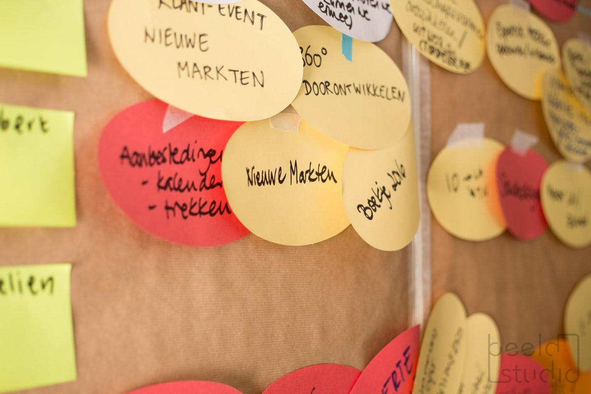 Ideeën bedenken tijdens een meeting van een organisatieadviesbureau